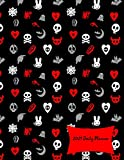 2021 Daily Planner: 2021 Cute Skulls, Goth Hearts & Evil Bunnies Large Daily Calendar With Goal Setting Section and Habit Tracking Pages, 8.5'x11'