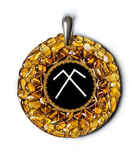 Sky Dome - Amber Amulet met oude Baltische teken voor bescherming en vruchtbaarheid. Handgemaakte ketting - Spiritual New Age Pagan Baltic