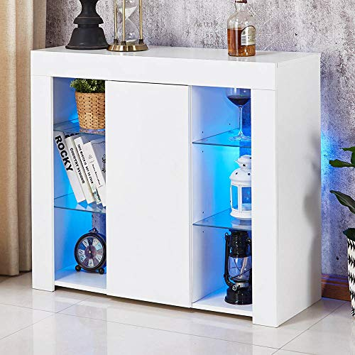 Apelila LED Sideboard Cabinet White Gloss Storage CabinetWith Glass compartment Multi-color Led Lights Furniture For Living Room