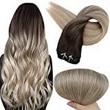 Full Shine Clip in Hair Extensions Remy Human Hair 18 Inch Color 2 Fading to 18 Ash Blonde and 60 Platinum Blonde Ombre Balayage Extension 100 Real Human Clip in Hair 100 Gram 10 Pcs Clip Hair