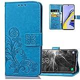 COTDINFORCA Etui für Huawei P40 Lite 5G Hülle PU Leder Cover Schutzhülle Magnet Tasche Flip Handytasche im Bookstyle Kartenfächer Lederhülle für Huawei Nova 7 SE Clover Blue SD