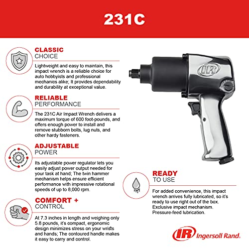 """Ingersoll Rand 231C 1/2"""" Drive Air Impact Wrench – Lightweight, Max 600 ft-lbs Torque Output, Adjustable Power, Twin Hammer, Silver"""