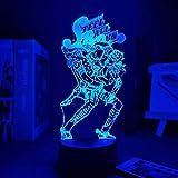 Lámpara de anime acrílico 3D JoJo Bizarre Aventura para decoración del hogar Regalo de la luz de cumpleaños Figura JoJo Luz de noche Led Jotaro Kujo-RGB_White_7 colores sin control remoto