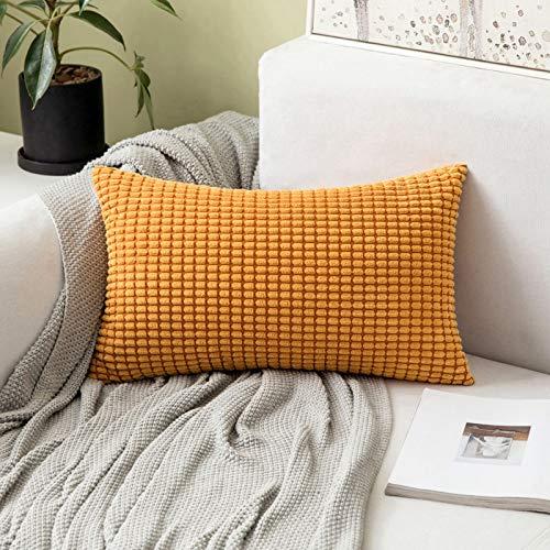MIULEE Velluto Federa Granula per Cuscino Morbido Quadrato Decorativo per Divano Lettoin Misto Poliestere 30X50 cm Arancia