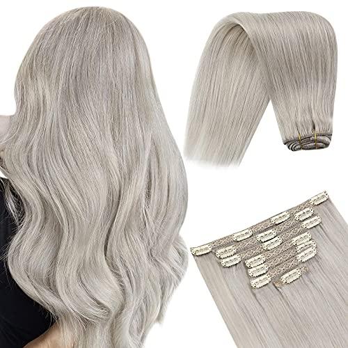 YoungSee 24 Pouces Extension a Clip Cheveux Gris# Clips Cheveux Extension Naturel Naturels Extension Clip Gris Remy human Hair 7pcs/120g