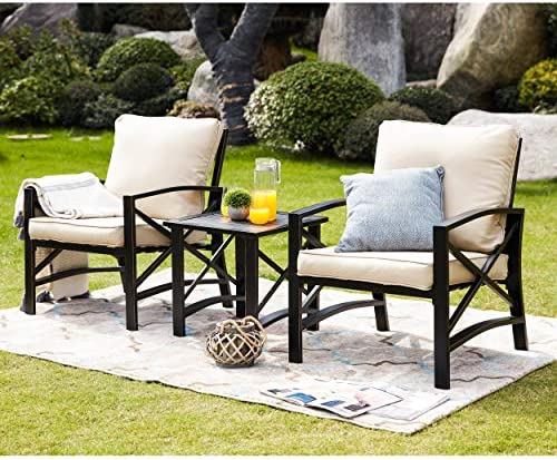 Best LOKATSE HOME 3 Piece Patio Conversation Set Outdoor Furniture with Coffee Table, Chair, Khaki