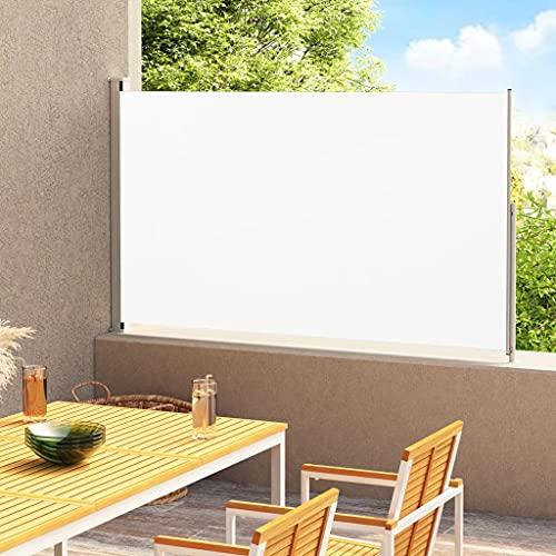vidaXL Toldo Lateral Retráctil para Patio Separador Terraza Balcón Pantalla Solar Viento Enrollable Función Retroceso Automático Crema 220x300 cm