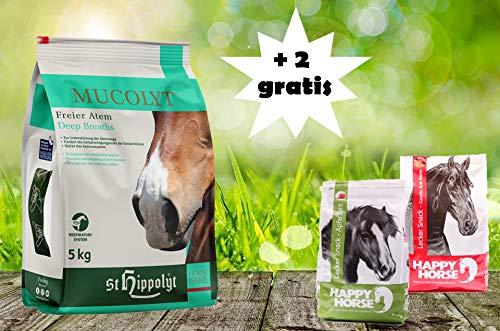 St. Hippolyt Mucolyt 5 kg und wir schenken Ihrem Pferd 2 x 1 kg Happy Horse Lecker Snacks