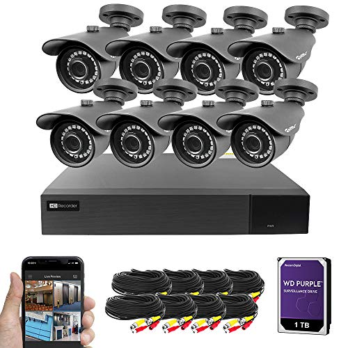 Best Vision 16CH 4-in-1 HD DVR CCTV Security Camera System (1TB WD HDD), 8pcs High Definition Outdoor Surveillance Cameras with Night Vision - DIY Kit, App for Smartphone Remote Monitoring