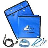 Minadax Juego de cables antiestáticos 60x80cm incluye bolsa ESD antiestática en azul, correa de muñeca y cable de tierra, para trabajar de forma segura y proteger sus componentes de daños por descarga