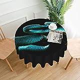 Mantel redondo de poliéster con estampado de serpiente, resistente al agua, a prueba de derrames, gran mesa para comedor cocina de 60 pulgadas