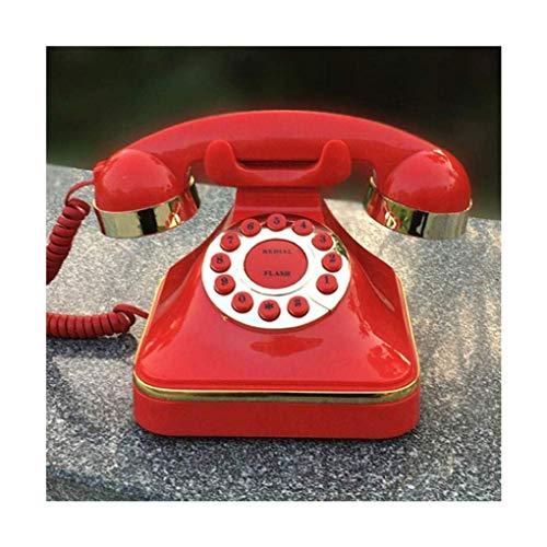 DFBGL Marcación de línea Fija y teléfono Fijo con botón pulsador Retro Rojo y teléfono Fijo con Timbre Tradicional, Rojo