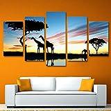 XiaoHeJD Lienzo HD Imprime Imagen para la Sala Decoración del hogar Marco 5 Panel Africano Animal Jirafa Elefante Puesta de Sol Paisaje Pinturas-S