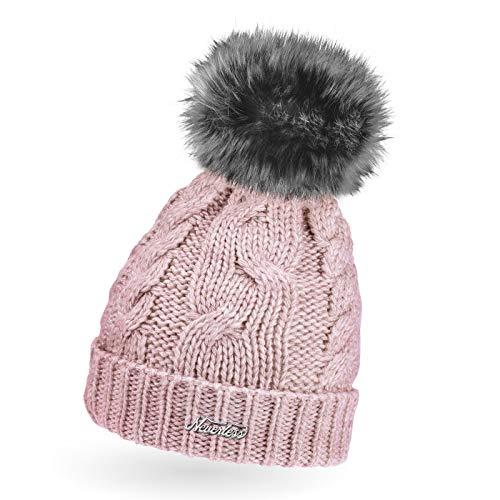 Neverless® gefütterte Damen Strickmütze mit Fell-Bommel und Fleece Futter, Winter-Mütze, Bommelmütze rosa Unisize