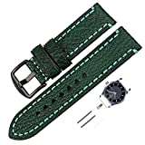 XIUMEI 22mm Watchbands Oil-Tanned Leather Watch Bands, Green Leather Watch Strap (Black Buckle)