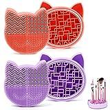 2 Pcs Limpieza Cosmético Cepillo Limpieza de Silicona, Limpiador de brochas de maquillaje de silicona 2 en 1 bandeja de secador para Maquillaje Cepillos y Maquillaje