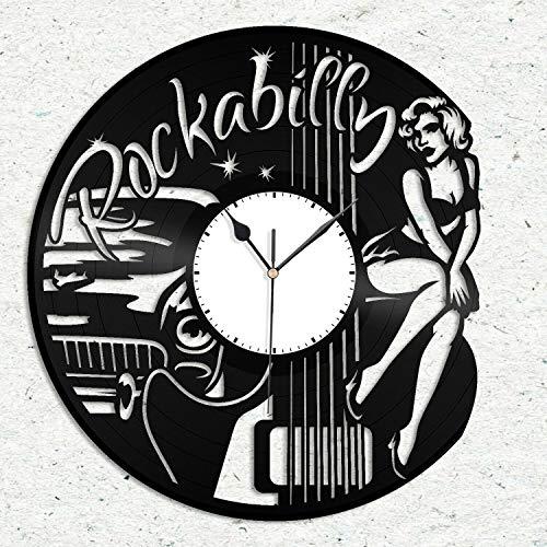 GVC Reloj de Pared de Vinilo Rockabilly, Banda de Rock, Regalo para Amantes de la música, decoración de la habitación del hogar, diseño Vintage, Oficina, Bar, decoración del hogar