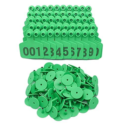 PROBEEALLYU Etiquetas de orejas de ganado, etiquetas de orejas numeradas de identificación de ganado para vacas, etiquetas de identificación de ganado 100Pcs numeradas 1-100 (verde)