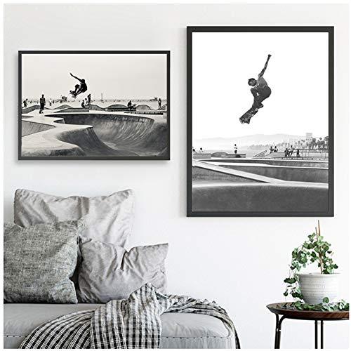 Venice Skate park Canvas Art Poster Prints Ángeles Venice Beach Fotografía Cuadro en blanco y negro Pintura Home Wall Art Decor-50x70x2Pcscm Sin marco