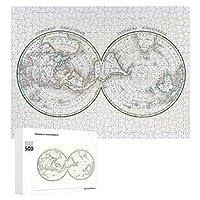 INOV 世界 北極 地図 ジグソーパズル 木製パズル 500ピース キッズ 学習 認知 玩具 大人 ブレインティー 知育 puzzle (38 x 52 cm)