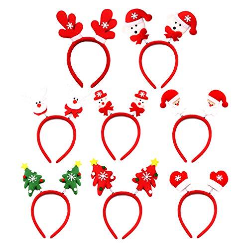 Lurrose 8 Pz Cerchietti Per Capelli Fasce Natalizie Con Babbo Natale Pupazzo Di Neve Renna Corna Modello Albero Di Natale Bomboniere Festa Di Natale