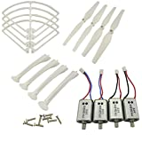 Upgraded Spare Parts for Syma X8C X8G X8HW RC Mini Quadcopter Toy Motor Main Blade Propellers Propeller Protectors Blades Frame Landing Skids with Screws Set (White)