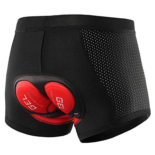 Lixada Short de Cyclisme pour Hommes, avec rembourré de Gel, sous-vêtement Respirant, Short de VTT/vélo/randonnée,XL,Noir