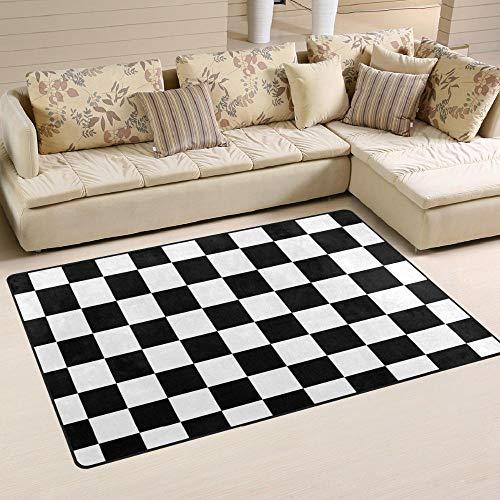 Rotagrod Tapis àCarreaux antidérapantTapis Tapis Couverture Noir Blanc DamierTapis deSolTapis pour Salle de Jeux salon-152 cm x 99 cm