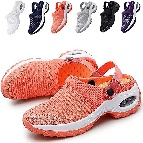 KFGJ Zuecos de Cuña Antideslizante, Sandalias con Amortiguador, Mujer Transpirable Sandalias Plataforma Cómodo Ligero Casual Zapatillas Ligero Casual Zapatillas para Caminar al Aire Libre 38 Naranja