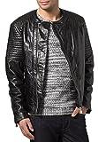 Hombres Slim Fit Biker motocicleta piel de cordero chaqueta abrigo Outwear Chaquetas NLJUK361