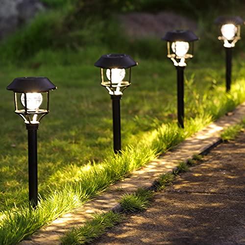 Lampada Solare Giardino Esterno LED Luci Solari Giardino Lampade da Esterno per Prato LED Lampade Solari Terra IP44 Impermeabile Solari Luce Calda 3000K Paesaggio Strade Pacco da 4