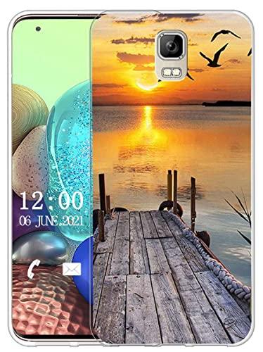 Sunrive Kompatibel mit UMI Rome/Rome X Hülle Silikon, Transparent Handyhülle Schutzhülle Etui Hülle (X Sonnenuntergang See)+Gratis Universal Eingabestift MEHRWEG