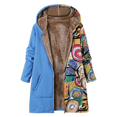 ZHANSANFM Damen Mäntel Wintermantel Vintage Print Kapuzenjacke Oversize Jacke Outwear Casual Cardigan Winter Verdicken Warm Winterjacke Frauen Sweat Parka Plüschjacke (3XL, Blau)