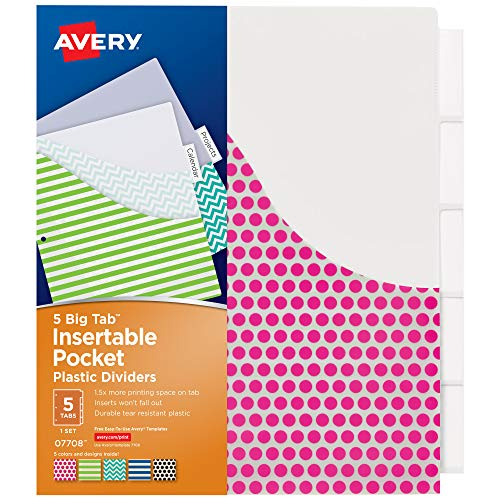 AVERY 5-Tab Plastic Binder Dividers with Pockets, Insertable Clear Big Tabs, Assorted Designs, 1 Set (7708)