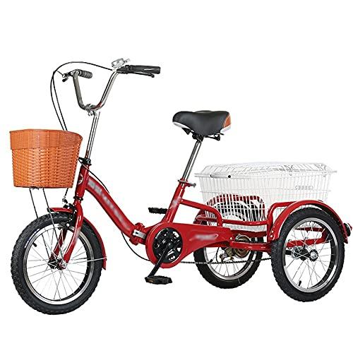 ZCXBHD Pedal de bicicleta plegable de 3 ruedas de 16 pulgadas para adultos, de una sola velocidad, con cesta de la compra para actividades de recreación, picnics y ejercicio (color rojo)