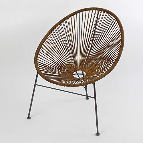 Voss Design Edler Sessel Acapulco Rattan Optik Braun Papasansessel Gartensessel Stuhl Seile