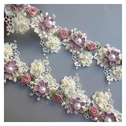 DIY encaje 1 yarda albaricoque perla rosa flor bordada encaje Trim cinta tela suministros de costura artesanía DIY