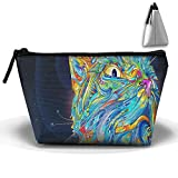 Rainbow Cat Multifunction Portable Pouch Trapezoidal Storage Cosmetic Bag