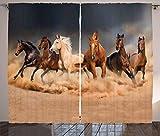 ABAKUHAUS Caballo Cortinas, Equinos temáticos Animales, Sala de Estar Dormitorio Cortinas Ventana Set de Dos Paños, 280 x 245 cm, Arena Marrón Marrón