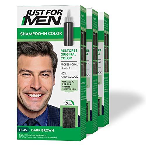 Just For Men Shampoo-In Color (Formerly Original Formula), Gray Hair Coloring for Men - Dark Brown,...