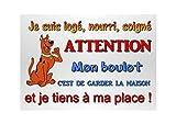 plaque attention chien humoristique en métal 29 x 20 cm env réf 26