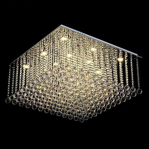 Lámpara de araña cuadrada de cristal para sala de estar montaje empotrado de lujo luz de cristal LED Lustres De Cristal luz blanca cálida L70 W70 H35cm