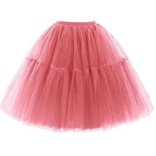 FOLOBE Adult Ballett Ballettröckchen Layered Organza Spitze Mini Rock Damen Prinzessin Petticoat Tutu Tüll Midi Knie Länge Rock Underskirt für Prom Party