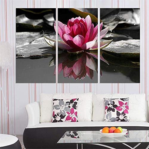 Lienzo decorativo para pared Loto rosa Canvas Decoración murales Arte Moderno De La Decoración del Hogar Pintura Sin marco 3 Partes 50x70 cm