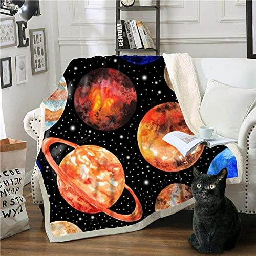 FGRSD Soft Warm Sherpa Blanket,Planet Starry 3D Digital Printed Quilt,Bedding Couch Blanket,Adults Office Lunch Break Blanket,Winter Sheet Plush Bedspreads Travel Quilt 75×100cm