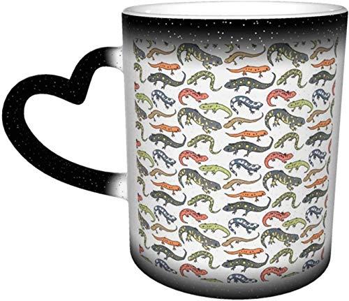 Tazas de café Salamandras Ilustración Sensible al Calor Color Cambio Taza en el Cielo Taza de Cerámica Regalos Personalizados para Familiares Amigos