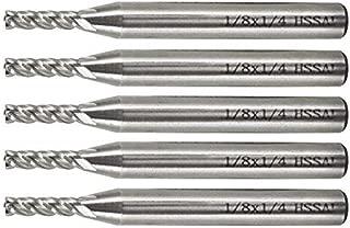 Yosoo 5Pcs End Mill Set, HSS CNC 1/8'' End Mill Cutter Drill Bits 1/4'' Shank for Wood, Nylon, Aluminum, Steel,Titanium, 4 Flute Straight End Mill Set 1/8'' - 1/4''