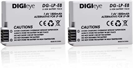 DIGIeye 7.4V 1800mAh Replacement Battery (2 Pack) for Canon LP-E8, Canon EOS Rebel T3i, T2i, T4i, T5i, EOS 600D, 550D, 650D, 700D, Kiss X5, X4, Kiss X6, LC-E8E