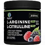 L-Arginine 5000mg + L-Citrulline 1000mg Complex Powder Supplement - Nitric Oxide Booster - Blood Pressure Support - Berry Flavored - 300g - BlueEarth Company