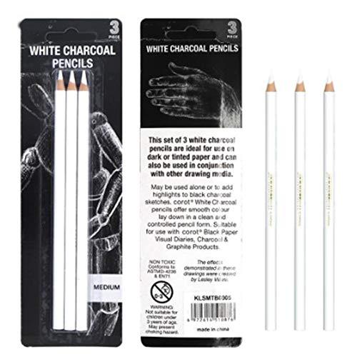 Domeilleur 3 lápices de carbón blanco para Sketch, herramientas de arte para profesionales, niños, principiantes, artistas, bocetos, colorear.